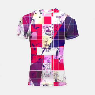 Thumbnail image of geometric square and triangle pattern abstract in red and blue Shortsleeve rashguard, Live Heroes