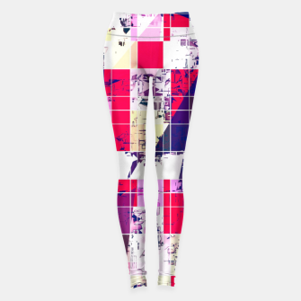 Thumbnail image of geometric square and triangle pattern abstract in red and blue Leggings, Live Heroes