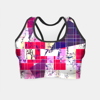 Thumbnail image of geometric square and triangle pattern abstract in red and blue Crop Top, Live Heroes