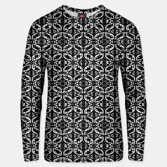 Miniatur Black and White Ornate Print Pattern Unisex sweater, Live Heroes