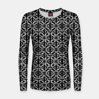 Miniatur Black and White Ornate Print Pattern Women sweater, Live Heroes