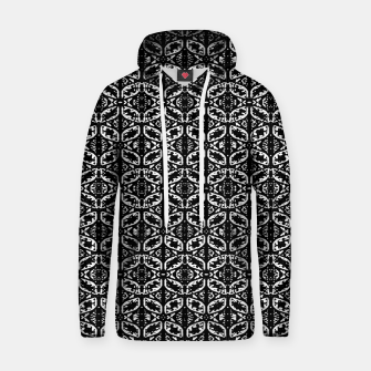 Miniatur Black and White Ornate Print Pattern Hoodie, Live Heroes