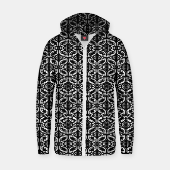 Miniatur Black and White Ornate Print Pattern Zip up hoodie, Live Heroes