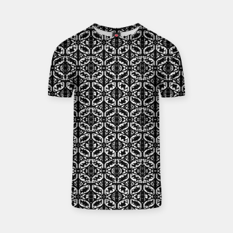 Miniatur Black and White Ornate Print Pattern T-shirt, Live Heroes