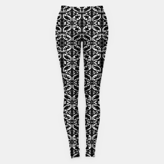 Miniatur Black and White Ornate Print Pattern Leggings, Live Heroes