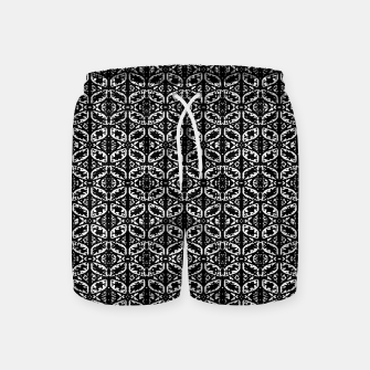 Miniatur Black and White Ornate Print Pattern Swim Shorts, Live Heroes