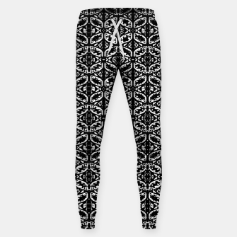 Miniatur Black and White Ornate Print Pattern Sweatpants, Live Heroes