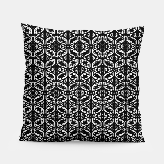 Miniatur Black and White Ornate Print Pattern Pillow, Live Heroes