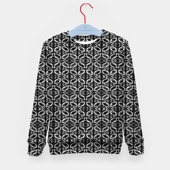 Miniatur Black and White Ornate Print Pattern Kid's sweater, Live Heroes