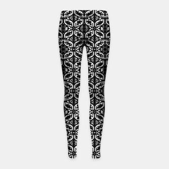 Miniatur Black and White Ornate Print Pattern Girl's leggings, Live Heroes