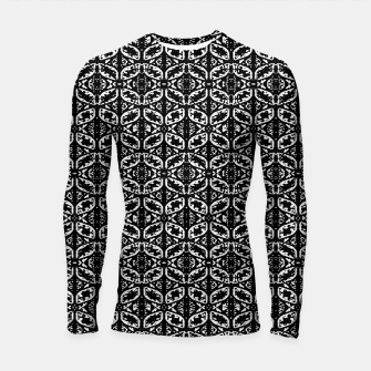 Miniatur Black and White Ornate Print Pattern Longsleeve rashguard , Live Heroes