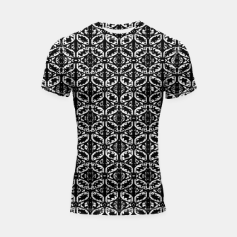 Miniatur Black and White Ornate Print Pattern Shortsleeve rashguard, Live Heroes