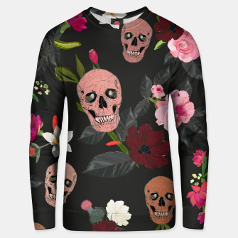Thumbnail image of Skull and roses, vanilla, cosmos flower. Floral colorful bouquet pattern Unisex sweater, Live Heroes