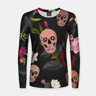 Thumbnail image of Skull and roses, vanilla, cosmos flower. Floral colorful bouquet pattern Women sweater, Live Heroes