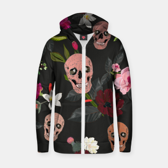 Thumbnail image of Skull and roses, vanilla, cosmos flower. Floral colorful bouquet pattern Zip up hoodie, Live Heroes