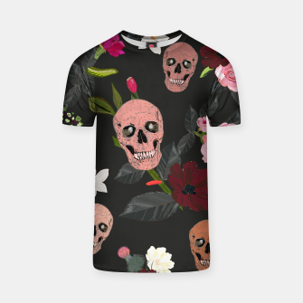Thumbnail image of Skull and roses, vanilla, cosmos flower. Floral colorful bouquet pattern T-shirt, Live Heroes