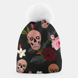 Thumbnail image of Skull and roses, vanilla, cosmos flower. Floral colorful bouquet pattern Beanie, Live Heroes