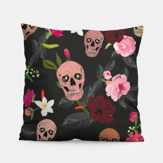 Thumbnail image of Skull and roses, vanilla, cosmos flower. Floral colorful bouquet pattern Pillow, Live Heroes