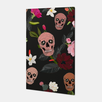 Thumbnail image of Skull and roses, vanilla, cosmos flower. Floral colorful bouquet pattern Canvas, Live Heroes