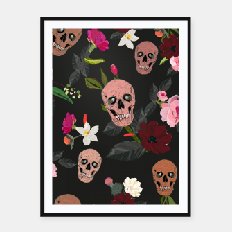 Thumbnail image of Skull and roses, vanilla, cosmos flower. Floral colorful bouquet pattern Framed poster, Live Heroes