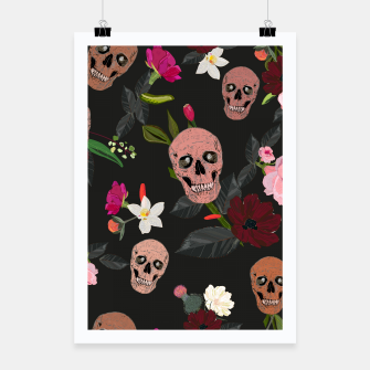 Thumbnail image of Skull and roses, vanilla, cosmos flower. Floral colorful bouquet pattern Poster, Live Heroes