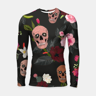 Thumbnail image of Skull and roses, vanilla, cosmos flower. Floral colorful bouquet pattern Longsleeve rashguard , Live Heroes