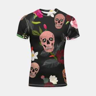 Thumbnail image of Skull and roses, vanilla, cosmos flower. Floral colorful bouquet pattern Shortsleeve rashguard, Live Heroes