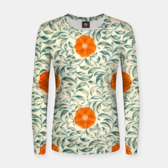 Miniaturka orange floral pattern Women sweater, Live Heroes