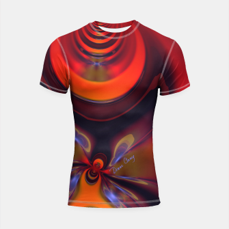 Thumbnail image of Amber Goddess  - Orange and Gold Passion Shortsleeve rashguard, Live Heroes