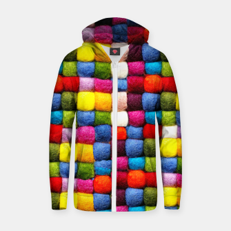 Thumbnail image of Colorfull Rainbow Fabric Bubbles Zip up hoodie, Live Heroes