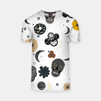 Thumbnail image of Skull and galaxy and stars abstract pattern T-shirt, Live Heroes