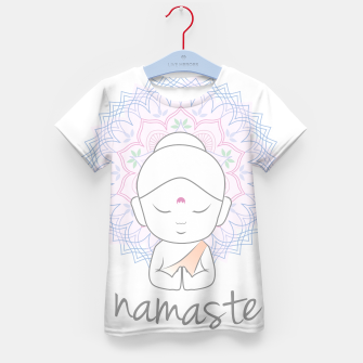 Thumbnail image of Cute Buddha sending greetings The word 'Namaste' is a respectful greeting also called 'Namaskar' Kid's t-shirt, Live Heroes