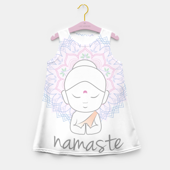 Thumbnail image of Cute Buddha sending greetings The word 'Namaste' is a respectful greeting also called 'Namaskar' Girl's summer dress, Live Heroes
