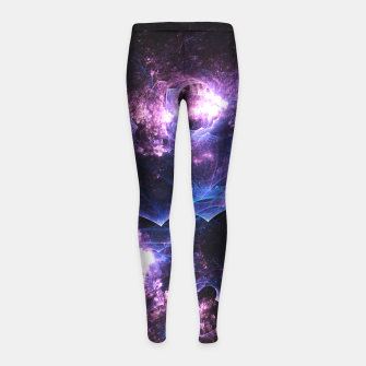 Thumbnail image of Grunged Space Abstract Fractal Art Girl's leggings, Live Heroes