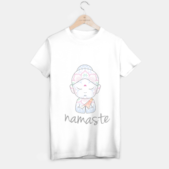Thumbnail image of Cute Buddha sending greetings The word 'Namaste' is a respectful greeting also called 'Namaskar' T-shirt regular, Live Heroes