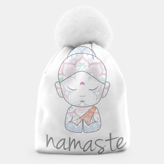 Thumbnail image of Cute Buddha sending greetings The word 'Namaste' is a respectful greeting also called 'Namaskar' Beanie, Live Heroes