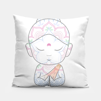 Thumbnail image of Cute Buddha sending greetings The word 'Namaste' is a respectful greeting also called 'Namaskar' Pillow, Live Heroes