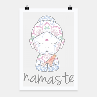Thumbnail image of Cute Buddha sending greetings The word 'Namaste' is a respectful greeting also called 'Namaskar' Poster, Live Heroes