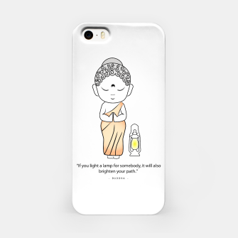 "Miniaturka Buddha standing with a lamp and quote, ""If you light a lamp for somebody, it will also brighten your path."" iPhone Case, Live Heroes"