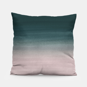 Thumbnail image of Touching Teal Blush Watercolor Abstract #1 #painting #decor #art Kissen, Live Heroes