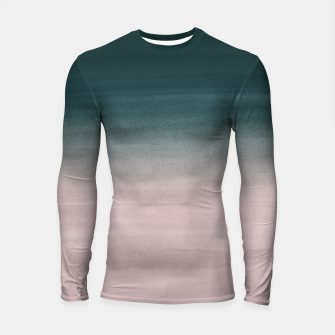 Miniatur Touching Teal Blush Watercolor Abstract #1 #painting #decor #art Longsleeve rashguard, Live Heroes