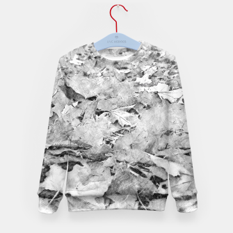 Thumbnail image of gxp black white autumn leaves pencil sketch Kid's sweater, Live Heroes