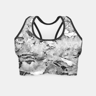 Thumbnail image of gxp black white autumn leaves pencil sketch Crop Top, Live Heroes