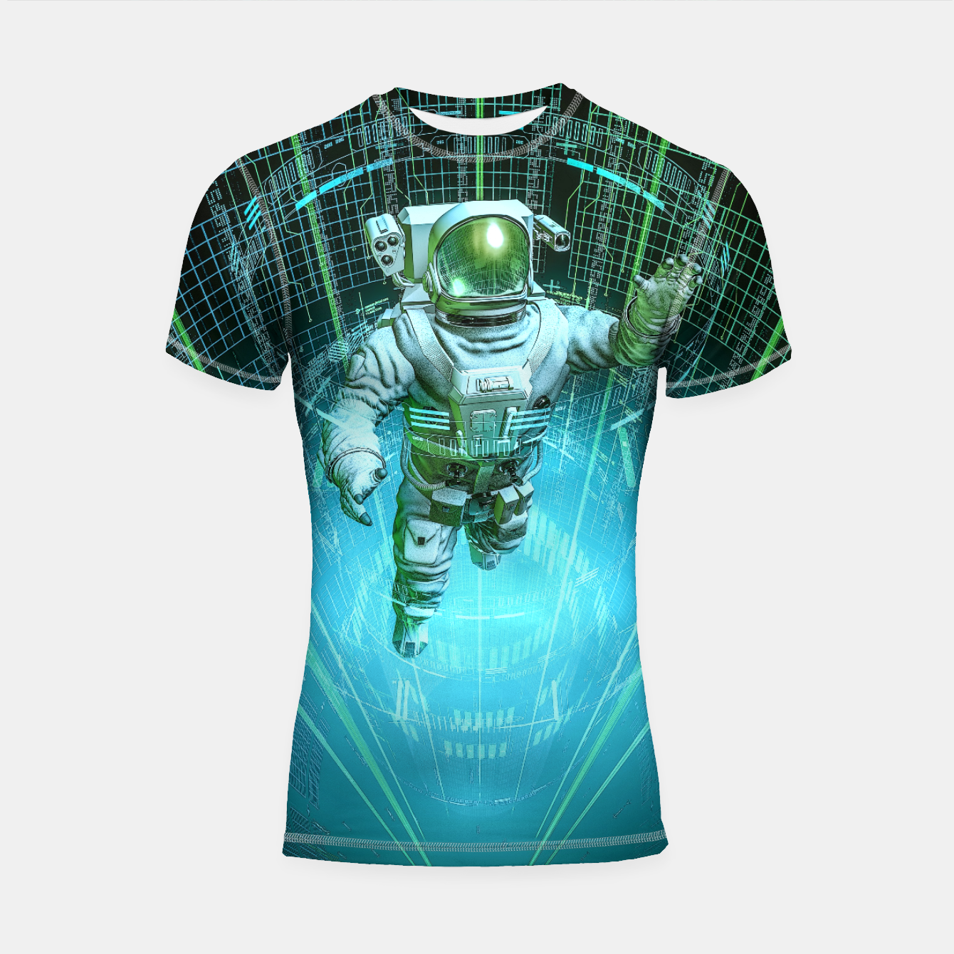 Image of Diving The Data Core Astronaut Shortsleeve rashguard - Live Heroes