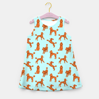 Thumbnail image of Red Poodles Pattern (Light Blue Background) Girl's summer dress, Live Heroes