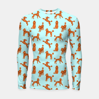 Miniatur Red Poodles Pattern (Light Blue Background) Longsleeve rashguard , Live Heroes