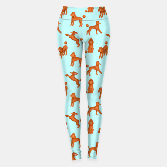 Miniatur Red Poodles Pattern (Light Blue Background) Leggings, Live Heroes
