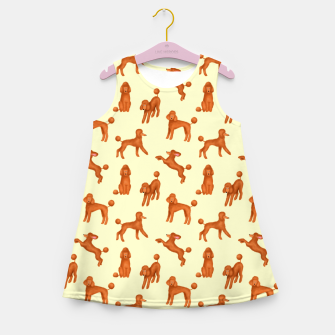 Thumbnail image of Red Poodles Pattern (Light Yellow Background) Girl's summer dress, Live Heroes