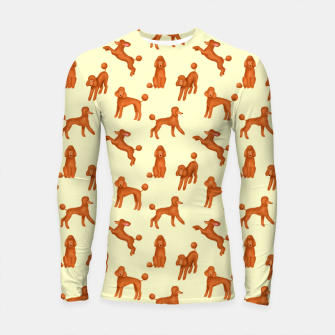 Miniatur Red Poodles Pattern (Light Yellow Background) Longsleeve rashguard , Live Heroes