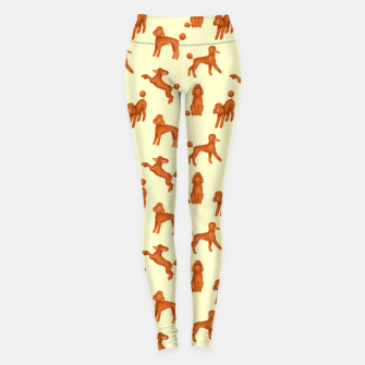Miniatur Red Poodles Pattern (Light Yellow Background) Leggings, Live Heroes